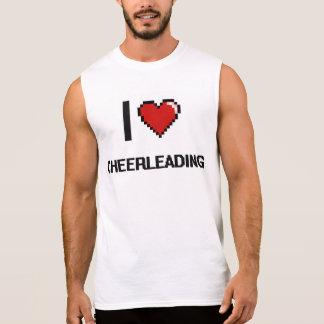 I Love Cheerleading Digital Retro Design Sleeveless Tee