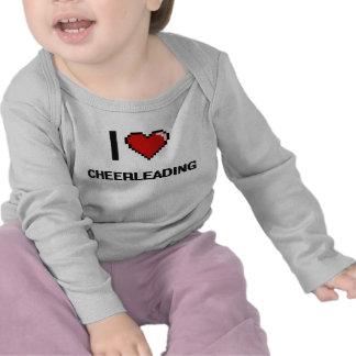 I Love Cheerleading Digital Retro Design T Shirt