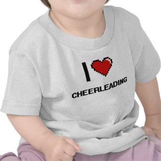I Love Cheerleading Digital Retro Design T Shirts