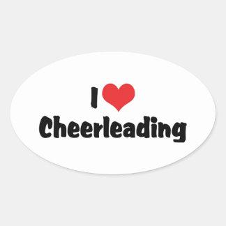 I Love Cheerleading Oval Sticker
