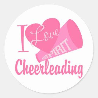 I Love Cheerleading Round Sticker