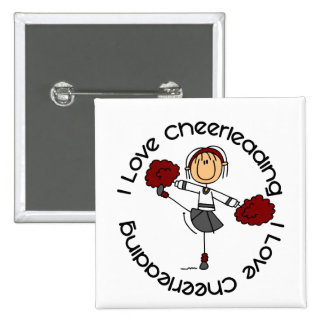 I Love Cheerleading Stick Figure Cheerleader 15 Cm Square Badge