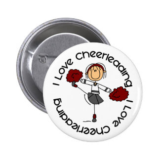 I Love Cheerleading Stick Figure Cheerleader 6 Cm Round Badge