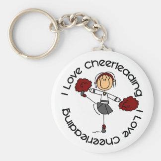 I Love Cheerleading Stick Figure Cheerleader Basic Round Button Key Ring