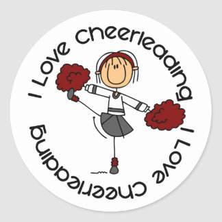 I Love Cheerleading Stick Figure Cheerleader Classic Round Sticker