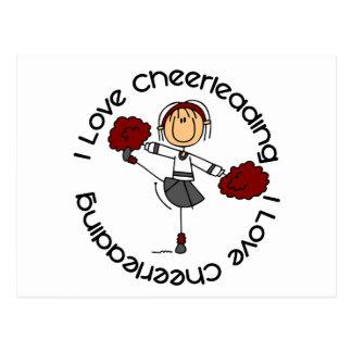 I Love Cheerleading Stick Figure Cheerleader Postcard