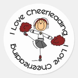I Love Cheerleading Stick Figure Cheerleader Round Sticker