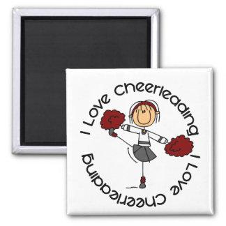 I Love Cheerleading Stick Figure Cheerleader Square Magnet