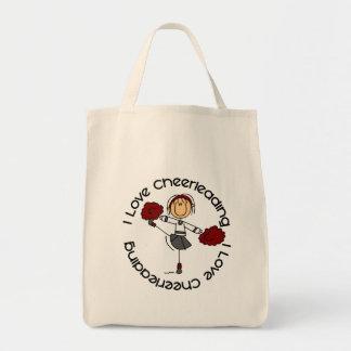 I Love Cheerleading Stick Figure Cheerleader Grocery Tote Bag