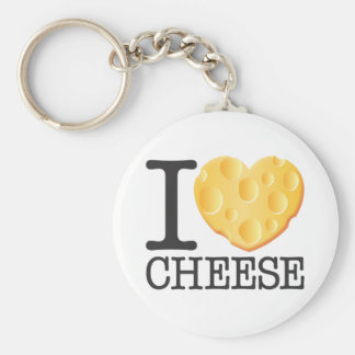 I Love Cheese Basic Round Button Key Ring