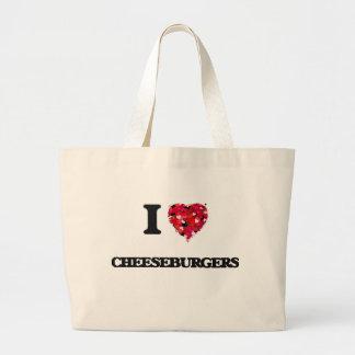 I love Cheeseburgers Jumbo Tote Bag