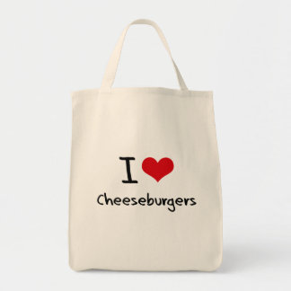 I love Cheeseburgers Grocery Tote Bag