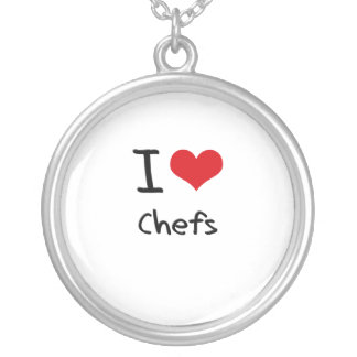 I love Chefs Round Pendant Necklace
