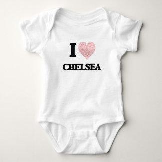 I love Chelsea (heart made from words) design Baby Bodysuit
