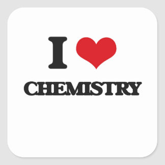 I Love Chemistry Square Stickers