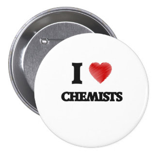 I love Chemists (Heart made from words) 7.5 Cm Round Badge