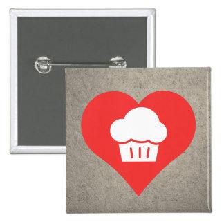 I Love Cherry Cupcakes Design 15 Cm Square Badge