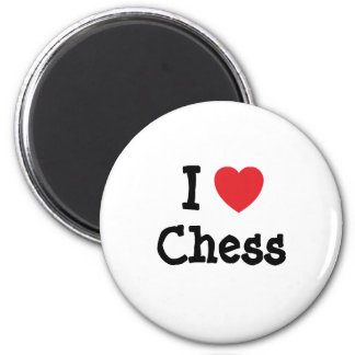 I love Chess heart custom personalized 6 Cm Round Magnet