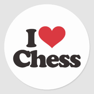 I Love Chess Round Sticker