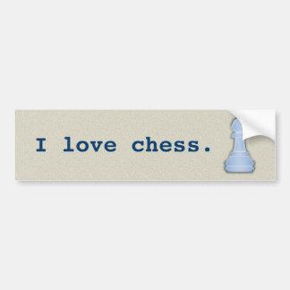 I Love Chess Shiny Blue Glass Chess Pawn Car Bumper Sticker