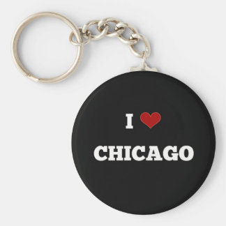 I Love Chicago Basic Round Button Key Ring
