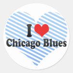 I Love Chicago Blues Classic Round Sticker