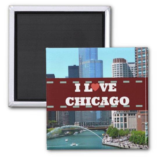 I Love Chicago Cityscape Square Magnet
