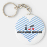 I Love Chicago House Basic Round Button Key Ring