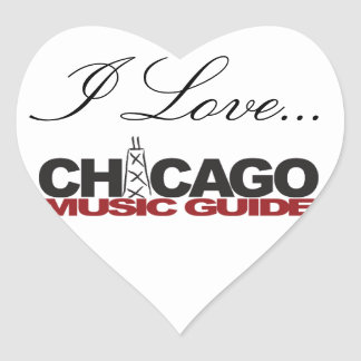 I Love Chicago Music Guide Heart Shaped Stickers