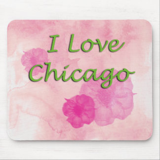 I love Chicago Pink Watercolors Mouse Mat