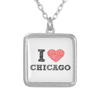 I-Love-Chicago Silver Plated Necklace