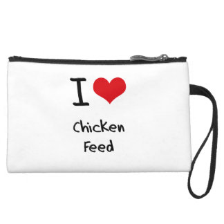 I love Chicken Feed Suede Wristlet