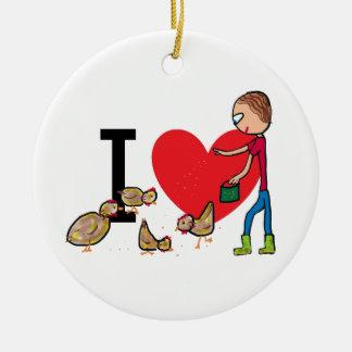 I Love Chickens Christmas Ornament