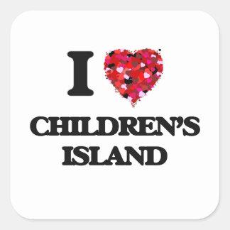 I love Children'S Island Massachusetts Square Sticker