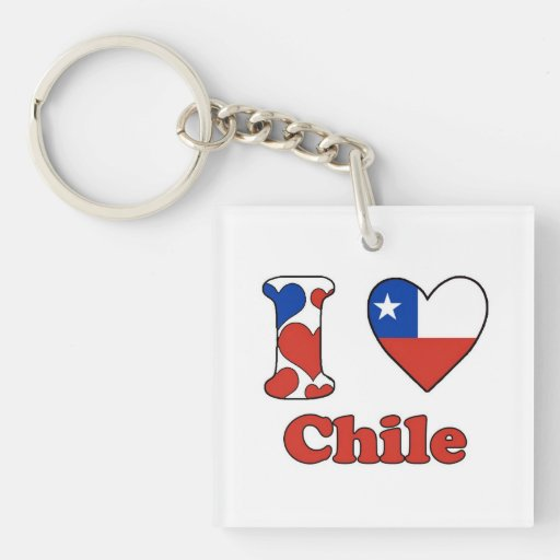 I love Chile Square Acrylic Key Chains