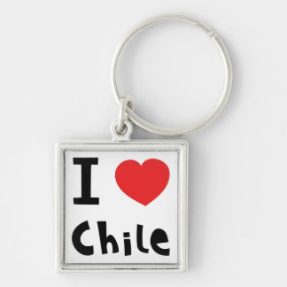 I love chile Silver-Colored square key ring