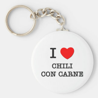 I Love Chili Con Carne Basic Round Button Key Ring