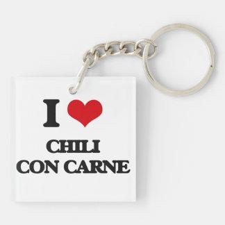 I love Chili Con Carne Square Acrylic Keychain