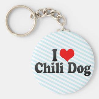 I Love Chili Dog Basic Round Button Key Ring