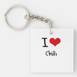 I love Chili Double-Sided Square Acrylic Keychain