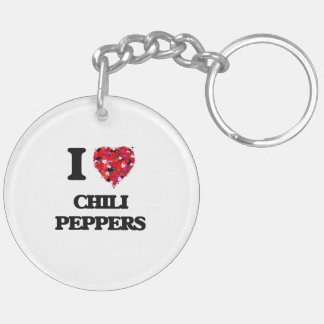 I love Chili Peppers Double-Sided Round Acrylic Key Ring