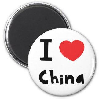 I love China 6 Cm Round Magnet