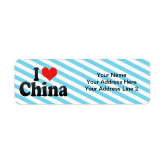 I Love China Return Address Label