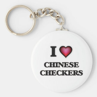 I Love Chinese Checkers Basic Round Button Key Ring