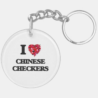 I Love Chinese Checkers Double-Sided Round Acrylic Key Ring