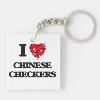 I Love Chinese Checkers Double-Sided Square Acrylic Key Ring