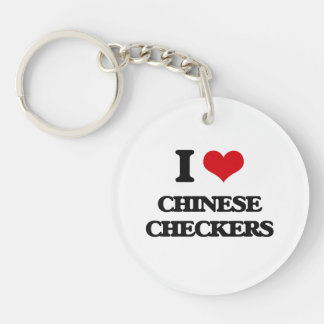 I Love Chinese Checkers Single-Sided Round Acrylic Key Ring