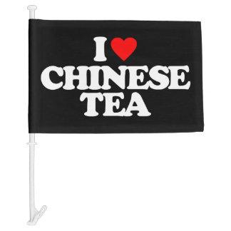 I LOVE CHINESE TEA CAR FLAG