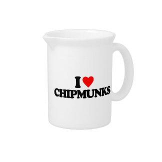 I LOVE CHIPMUNKS DRINK PITCHER