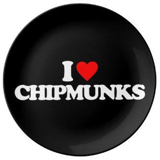 I LOVE CHIPMUNKS PORCELAIN PLATE